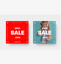 set square web banners for mega big sale vector image
