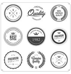 set vintage monochrome retail labels and badges vector image