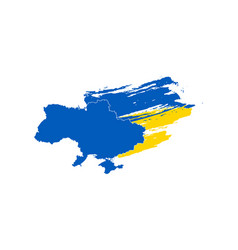 simple map of ukraine with brushed flag isolated vector image