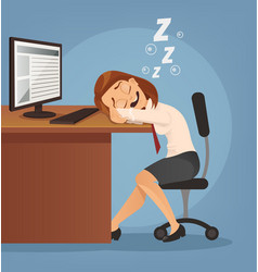 Sleeping happy smiling office worker woman vector