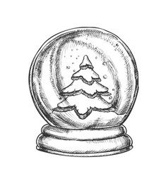 Snow globe with fir-tree souvenir vintage vector