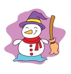 Snowman with broom character Christmas vector image
