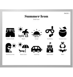 summer icons solid pack vector image