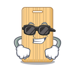 Super cool wooden cutting board character cartoon vector