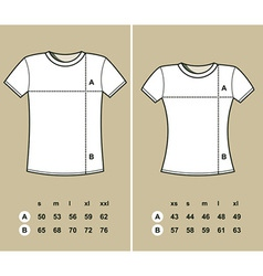 T-Shirt Sizes vector