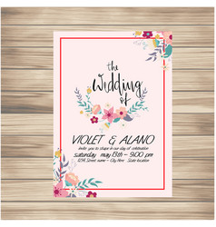 The wedding of card flower floral pink background vector
