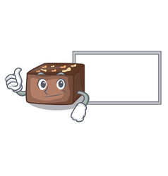 Thumbs up with board character cartoon almond cake vector