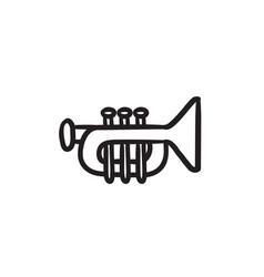 Trumpet sketch icon vector