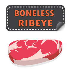Unwrapped fresh boneless ribeye steak with fat vector