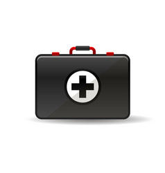 Virus first aid help kit box icon vector