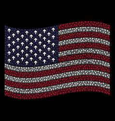Waving american flag stylization of arrow vector