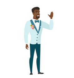 young african-american groom waving his hand vector image