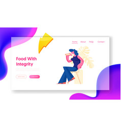Young woman visiting fastfood restaurant website vector