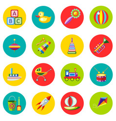 icons of toys in the flat style image on a vector image vector image