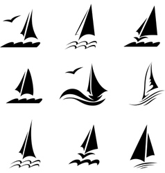 Icons with the image of yachts on a white vector image