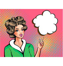 pop art beautiful woman pointing finger vector image