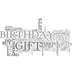 Awesome birthday gifts for anyone text word cloud vector