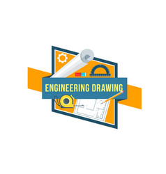 construction engineering drawing tool icon vector image vector image