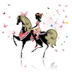 horse girl vector image
