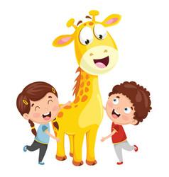 kids with giraffe vector image vector image