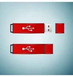 Red USB flash drive icon isolated on blue vector image