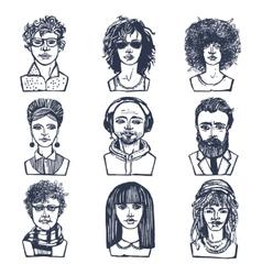 Sketch people portraits set vector image