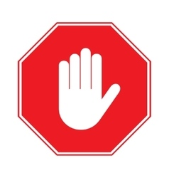 stop hand sign on white background vector image vector image