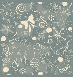 winter seamless pattern with snowflakes and funny vector image