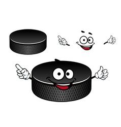 Black rubber ice hockey puck cartoon character vector image vector image