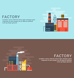 Industrial Factory Buildings Flat Style for Web vector image