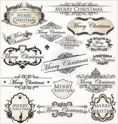 Merry Christmas vintage Label collection vector image vector image