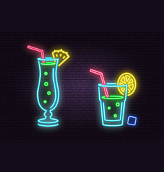 set of cocktail neon emblem vector image