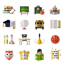 Basic Education Flat Icon Set vector image