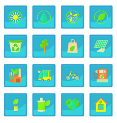ecology items icon blue app vector image