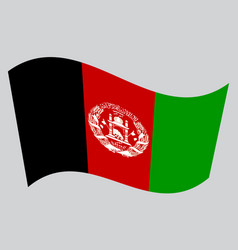 flag of afghanistan waving on gray background vector image vector image