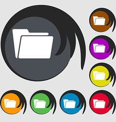 Folder icon Symbols on eight colored buttons vector image