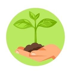 human hand holding green small vector image