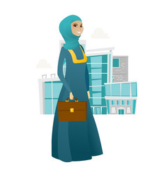 Muslim business woman holding briefcase vector