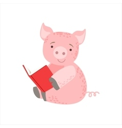 Pig Smiling Bookworm Zoo Character Wearing Glasses vector image