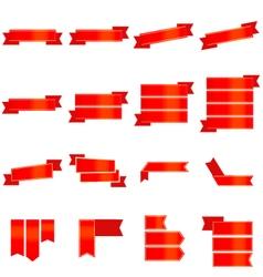 Red ribbon icons set vector image