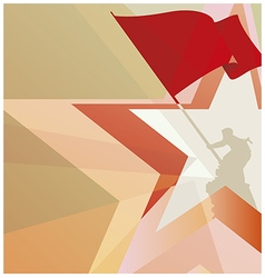 The red flag of victory on the background of stars vector image