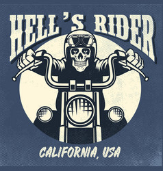 Vintage and rusty design of skull riding vector