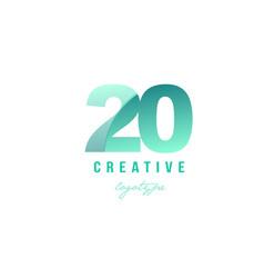 20 green pastel gradient number numeral digit vector