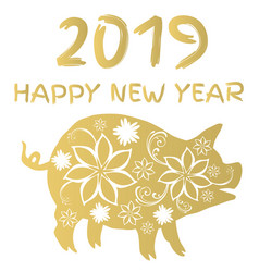 2019 floral pig vector image