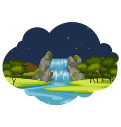 A river in nature landscape at night vector