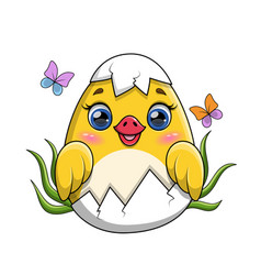 Adorable little yellow duckling hatching from vector