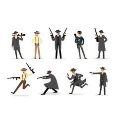 american mafia mob members of 30s set of cartoon vector image