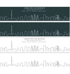 baku single line skyline banner vector image