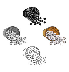 basket with golf balls icon in cartoonblack style vector image