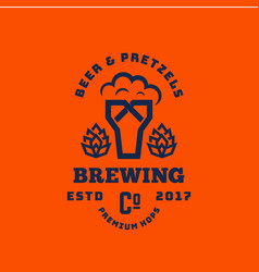 Beer and pretzels abstract retro symbol or vector